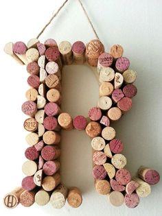 Wine Cork Letter R by KaylasWineKrafts Cork Crafts, Fun Crafts, Arts And Crafts, Wine Cork Letters, Rainy Day Crafts, Wine Country, Craft Gifts, Burlap Wreath, Wedding Decorations