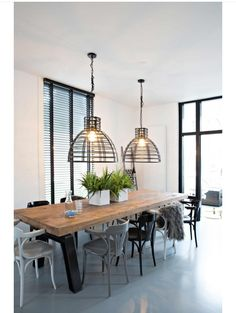 Home Living Room, Dining Room Lighting, Dining Room Design, Dining Table, Contemporary House, Dining Room Industrial, Wooden Dining Tables, Dining Room Table, Dining Table Design
