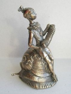 Brass Lady Bell - Harlequin clown on snail