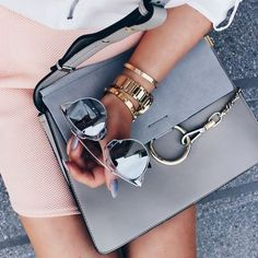 Street style, casual outfit, spring chic, summer chic, pink skirt, sliver Dior sunglasses, Chloé bag