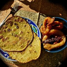 Chickpea Flour Battered Onion RIngs with Pudla