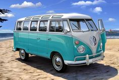 Turquoise VW Van.  Always wanted one of these to pack up with art supplies and hit the road. :-)