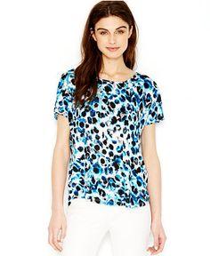 kensie Short-Sleeve Printed Top - Tops - Women - Macy's