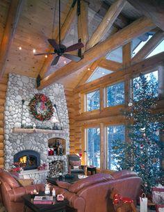 Log home at Christmas