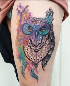Awesome Owl Tattoo Design For All Time, In respect to placement, owl tattoos are incredibly flexible. If you're selecting an owl tattoo, you're probably going to have to discover the ideal d. Tattoos Mandala, Tattoos Geometric, Palm Tattoos, Body Art Tattoos, Tattoo Drawings, Owl Thigh Tattoos, Circle Tattoos, Bird Tattoos, Feather Tattoos