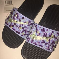 c22bc10b47b Custom Bling Nike Flip Flop Slides Benassi Embellished with high quality  rhinestones and pearls