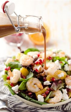 Winter Fruit and Shrimp Salad - Maybe you're not up for eliminating all meat from your diet—and that's A-OK because members of the fish family reap a significant amount of protein with minimal to no fat. This salad, in particular, has a lot to offer with regard to the myriad of fruit that is dispersed all throughout the shrimp. What's surprising is that it's loaded in riboflavin, a B vitamin that that is a main player in energy metabolism.