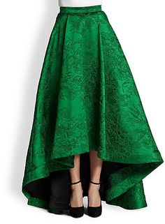 Alice + Olivia Cohe Embroidered Hi-Lo Long Skirt on shopstyle.com