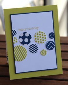 handmade card for clean&simple: 239 ... die cut circles from patterned papers ..