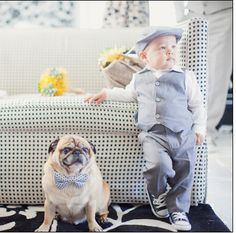 Cute family photo session with baby and their pug. ♡          Child | Pet | Dog | Props | Photography