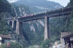 SBB Gotthardbahn, Amsteg, Kerstelenbachbrücke im Zustand vor 1969, Aufnahme 1967