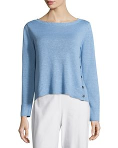 Eileen Fisher Organic Linen Top w/ Side Buttons & Wide-Leg Washable-Crepe Cropped Pants