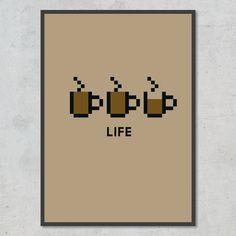 Måske er du gamer, eller måske er kaffe en slags livseliksir for dig – eller begge dele? Så er her en plakat netop til dig! Life, Minimalism