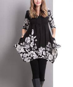 Another great find on #zulily! Black Floral Pin-Tuck Handkerchief Tunic by Reborn Collection #zulilyfinds