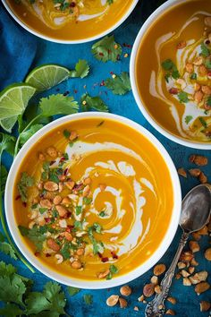 Thai Butternut Squash Soup - A delicious way to use up seasonal butternut squash! This Thai inspired soup is brimming with flavor, it has a velvety creamy texture and it's super tasty when finished with crunchy peanuts and fresh cilantro. Lunch Recipes, Cooking Recipes, Healthy Recipes, Healthy Meals, Yummy Recipes, Healthy Eating, Pineapple Curry Chicken, Butter Squash Recipe, Thai Butternut Squash Soup