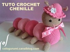 TUTO chenille au crochet - Knitting And Crocheting Crochet Shrug Pattern, Plush Pattern, Crochet Patterns Amigurumi, Amigurumi Doll, Free Pattern, Crochet Bunny, Diy Crochet, Crochet Toys, Amigurumi For Beginners