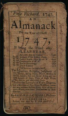 ben franklin poor richard's almanac. Time Travel, please.