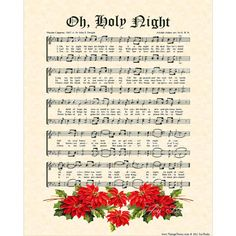 "OH, HOLY NIGHT is an 8"" X 10"" original art print made with a hymn from a vintage hymnal with artwork added, antiqued and printed on natural parchment in sepia tones or Christmas evergreen tones. The words of this well known hymn were written by Placide Cappeau (1847) translated by John S. Dwight and the music was composed by Adolphe C. Adam and arranged by G.B.H.  To see other prints and items with this hymn, please click here…"