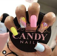 Pink Nail Art, Cute Nail Designs, Short Nails, Cute Nails, Acrylic Nails, Hair Beauty, Lily, Candy, Work Nails