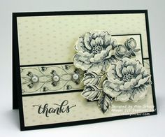2015 The beautiful designer series paper you see is from the NEW Timeless Elegance Collection along with the Metal Rimmed Pearls. The Stippled Blossoms stamp set was used to stamp the flowers