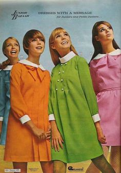 Colleen Corby (pink mini-dress) and others models (unknown to me), modeling inside of Sears catalog, 1960s. (x)