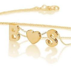 Gold Over Silver Chunky Initials And Heart #romantic_gift #initials_necklace