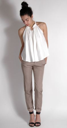 Linen Fashion. Apiece Apart Wabi Sabi White Tank, MM6 Linen Trousers, Woman by Common Projects Ankle Strap Heel
