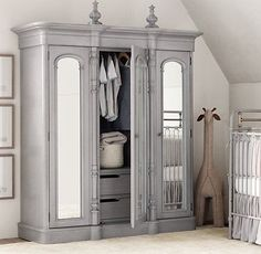 I love this Chronicles of Narnia type of wardrobe/armoire from Restoration Hardware Baby & Child. Great option for a room that doesn't have a closet!