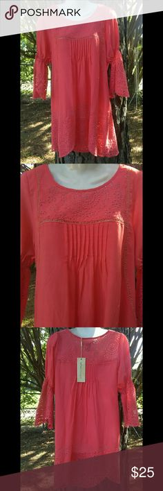 Urban Mangoz Coral Boho Tunic/Dress Size Medium This runs big so it will fit size Medium to Large. Absolutely stunning piece with an airy feminine feel. The lace detail is elegant. Urban Mangoz Dresses