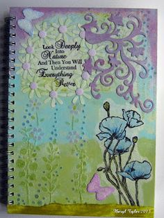 Front cover of Art Journal Book with Sheena Douglass stamps.