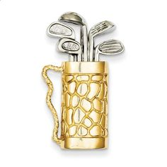 14k Two-tone Golf Bag with Clubs Pendant