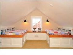 cool idea to finish attic for bedroom with built in beds | Attic
