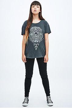 Bone White Moon Geometric Long Sleeve Tee in Black - Urban Outfitters