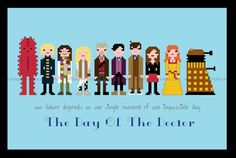 Doctor Who Day of the Doctor 50th Anniversary cross stitch pattern by FangirlStitches, $6.00