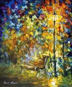 GREEN VIBRATIONS - Original Oil Painting On Canvas By Leonid Afremov http://afremov.com/SYMBOLS-OF-AUTUMN-Original-Oil-Painting-On-Canvas-By-Leonid-Afremov-20-x24-50cm-x-60cm.html?bid=1&partner=15955
