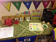 Maths table top resources including challenge board and numicon display -by EYchloe Maths Eyfs, Numeracy Activities, Preschool Math, Early Years Teaching, Classroom Layout, Classroom Ideas, Math Tables, Numicon, Reception Class