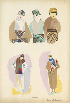 vintage fashion illustration by Sonia Delaunay 1923/24