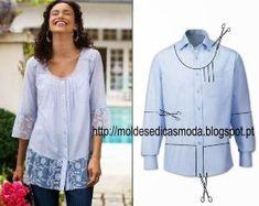 RECICLAGEM DE CAMISA - 5 ~ Moldes Moda por Medida by aimee