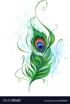 Illustration of Arts painted a colorful peacock feather on a white background stained watercolor paint vector art, clipart and stock vectors. Feather Drawing, Peacock Feather Tattoo, Feather Vector, Peacock Art, Feather Art, Feather Tattoos, Peacock Feathers Drawing, Peacock Images, Feather Tattoo Placement