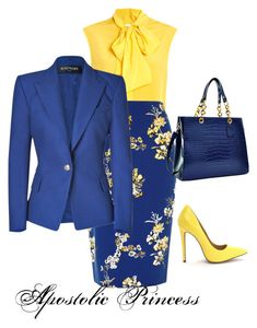 """Blue and Yellow"" by apostolicprincess on Polyvore featuring Moschino, River Island, Balmain and Dasein"