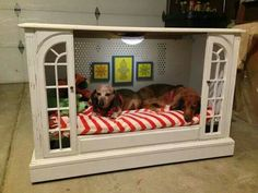 Up-cycled entertainment stand/TV Stand turned doggy house