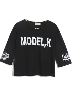 Black Short Sleeve MODEL,K Leaves Print Crop T-Shirt zł51.86
