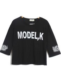Black Short Sleeve MODEL,K Leaves Print Crop T-Shirt zł51.86