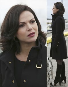 Regina's black coat with gold buckle and black suede boots on Once Upon A Time