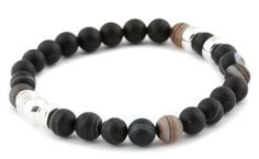 [BRACELET BE RELAXED NOIR / BLACK BE RELAXED BRACELET] Bracelet pour homme en agathe mate 8mm et argent 925. | Bracelet for men in 8mm matte agate and sterling silver.
