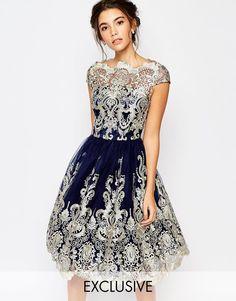 Image 1 ofChi Chi London Premium Metallic Lace Midi Prom Dress with Bardot Neck