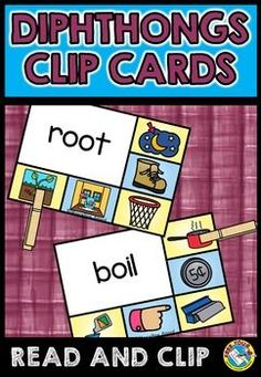 DIPHTHONGS CLIP CARDS: AU, AW, EW, OI, OO, OU, OW, OY: LITERACY CENTER FUN RESOURCE!  word work: read and match ★Click to view this resource! ★