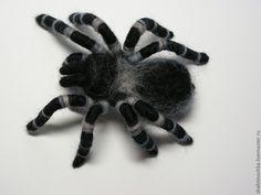 """Купить Брошь """"Паук"""" 3 - чёрный, серый, паук, ручная работа, авторская ручная работа"""