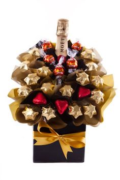 Candy boquet. Without the bottle of wine.