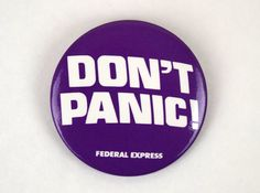 Vintage Don't Panic Federal Express Pinback by SoftFocusVintage